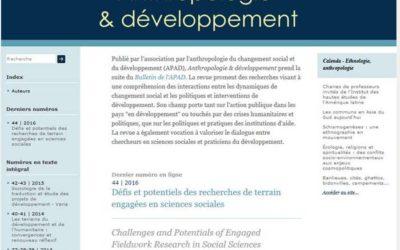 «Anthropologie & développement» est en ligne !
