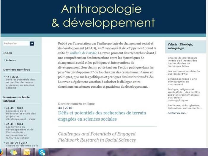 """""""Anthropologie & développement"""" est en ligne !"""