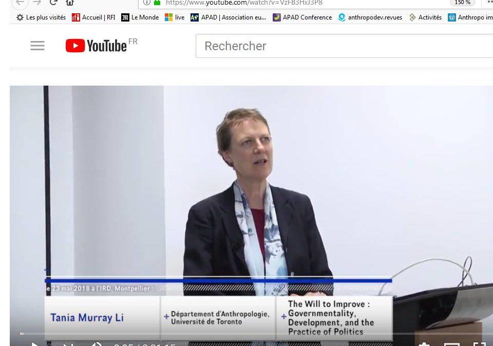 The Will to Improve : la conférence de Tania Li est sur Youtube